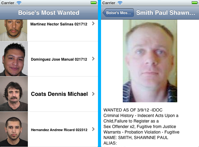 Boise Most Wanted iPhone App